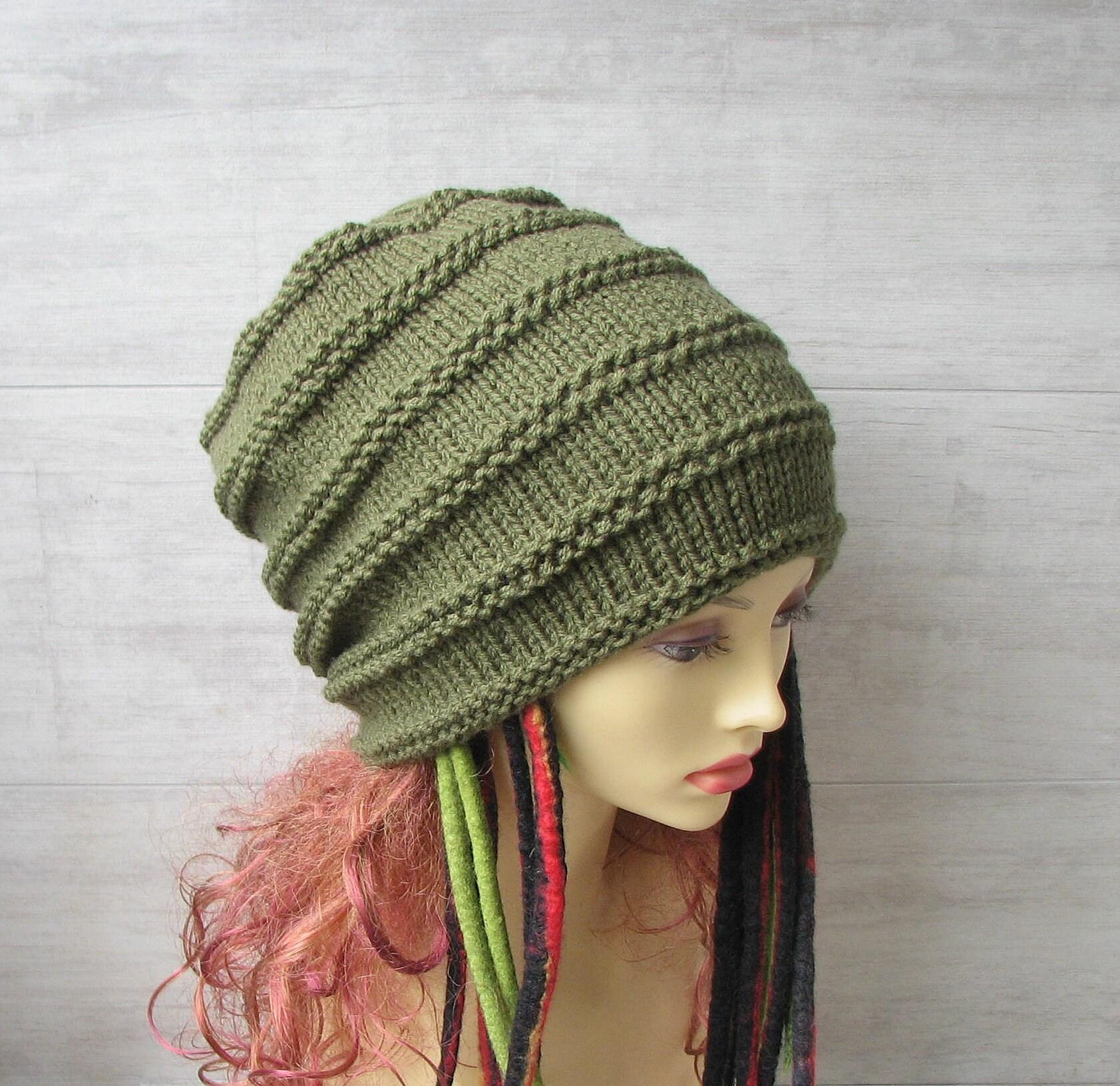 Best hats for dreadlocks khaki green slouchy beanie headwear  9169cf869c5