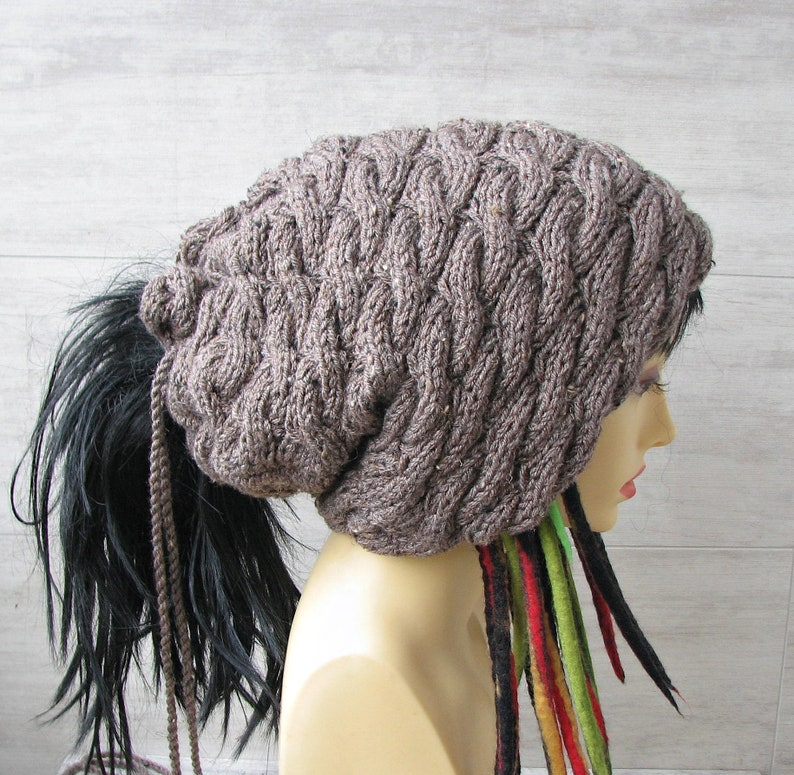 XXL Knit hat for extra large head slouchy hat long hair  ac054a07ab7