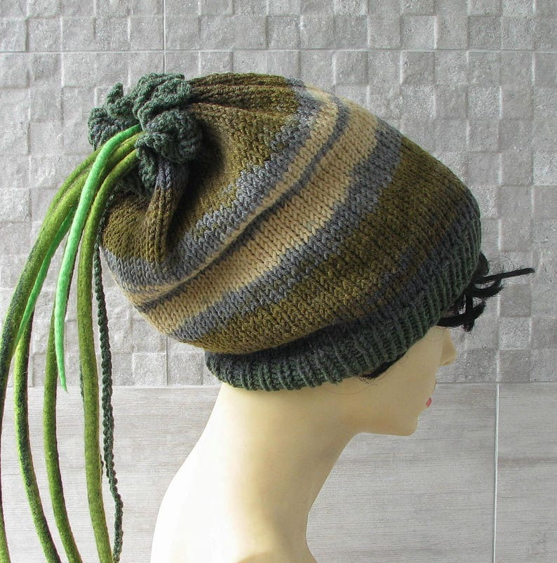 588d3306bf1ed Green dreadlocks headband dreads wrap knit dread tube tam