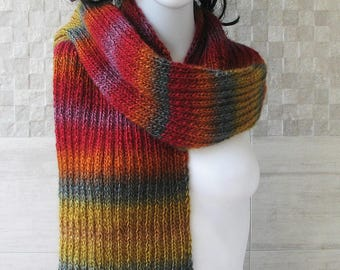 Mens knit Scarf, hand knit scarves, Colorful knitwear, women's knit scarves, oversized  Lightweight scarf