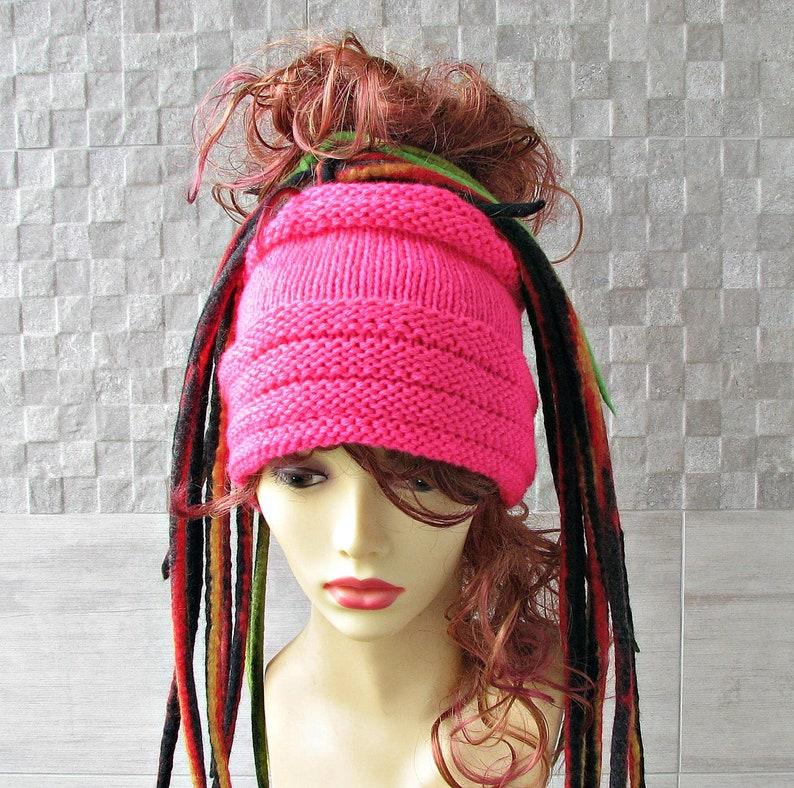 e8a6eb211 Dreadlock Tube Hat Headband Winter Accessory Knitted Pink Womens Fashion