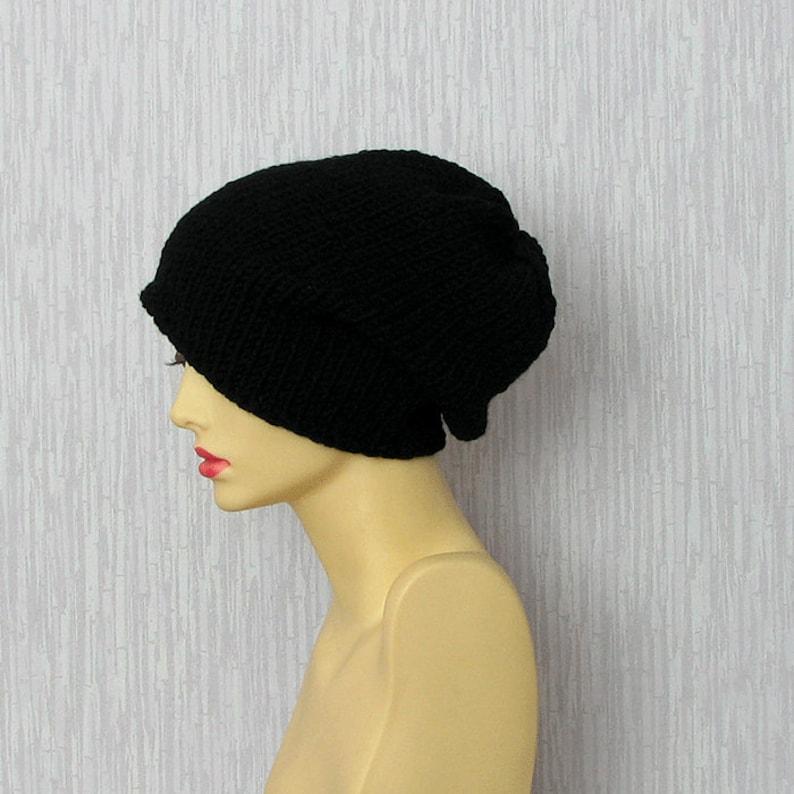 Dreadlock accessories Mens Winter Hat Black Slouchy Oversized Beanie Chunky Knit Accessories Women