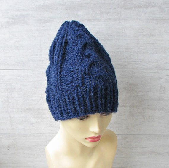Navy blue hand knit slouchy beanie hat for Men alpaca wool  ff829019292