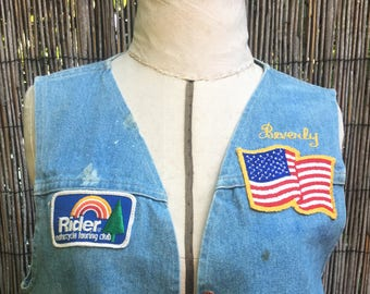 Vintage Denim Motorcycle Club Vest With Patches