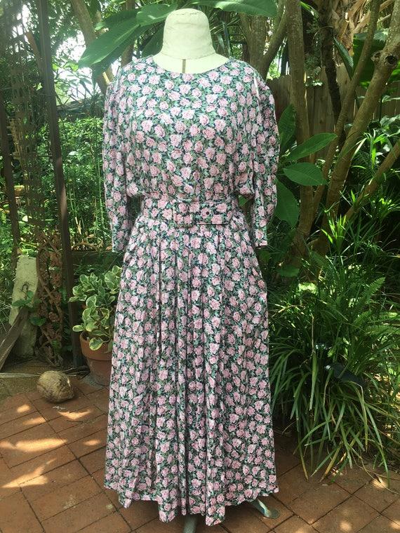 1980's Floral Midi Dress