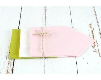 Set of 3 organic cotton handkerchiefs: olive green, white, pink, zero waste, eco-friendly and economical.