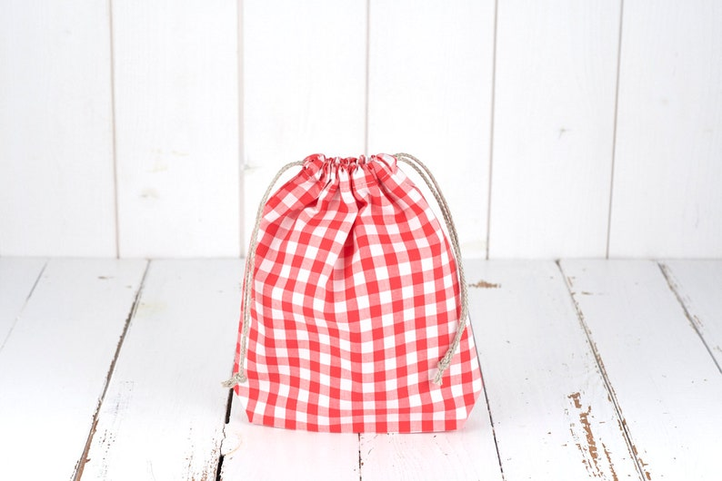small model green gift wrapping Organic cotton Pochon in coral and white gingham color bulk bag