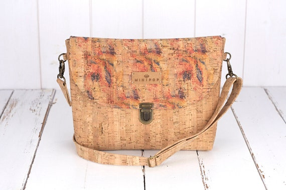 supple and soft Vegan handbag in cinnamon cork leather eco-friendly and ethical.