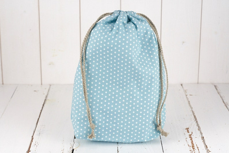 eco-friendly gift wrapping Bag organic cotton GOTS large blue dots. zero waste can be used as a bag to loose