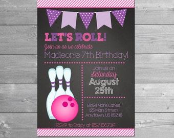 Bowling Birthday Invitation, Bowling Party, Chalkboard, Bowling Invitation, Bowling Invite, Bowling Birthday, Girl Birthday, Pink, Printable