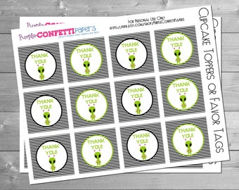 Alien Cupcake Toppers, Favor Tags, Birthday, Green Alien, Spaceship, Astronaut, Space Alien, Alien Birthday, Space Party, INSTANT DOWNLOAD
