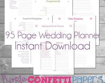 printable wedding planner 95 pages instant download kit colorful bride groom wedding planning bridesmaid planner wedding party