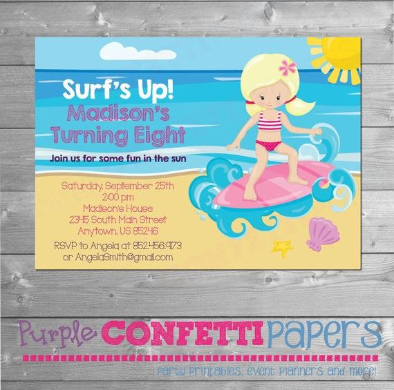 Beach Birthday Invitation Invite Theme Surfing Surf Party Printable