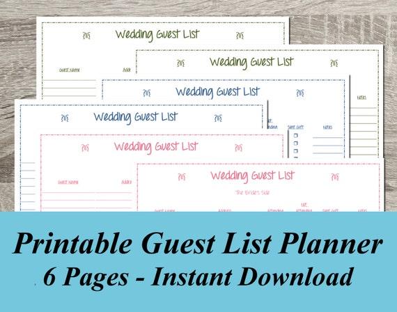 instant download wedding guest list pdf wedding planning 6 etsy