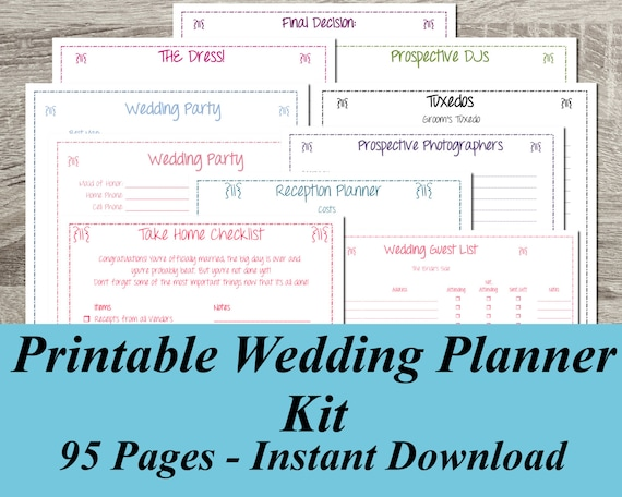 Instant Download Ultimate Printable Wedding Planner Kit 95 Pages