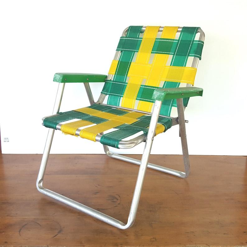 Vintage Childs Lawn Chair Aluminum Lawn Chair Folding Chair Webbed Chair  Yellow Green Bay Packers 1970s Lawn Furniture Beach Chair