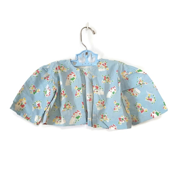 Vintage Baby Jacket Feed Sack Flour Sack Gardenin… - image 5