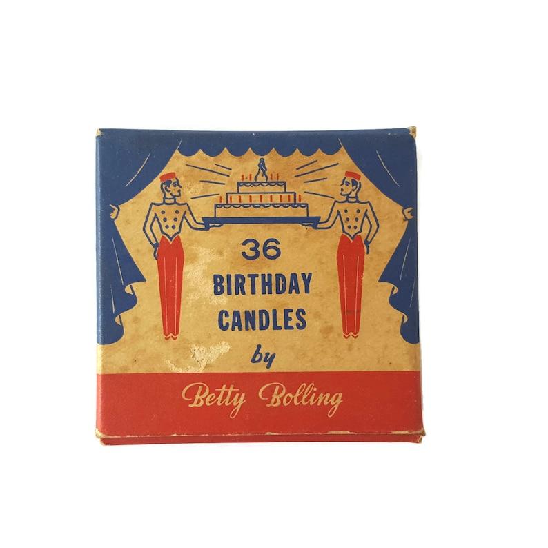 Vintage Birthday Candles Original Box Betty Bolling Pink Birthday Candles Birthday Cake Candles Mid Century Candles Mixed Media