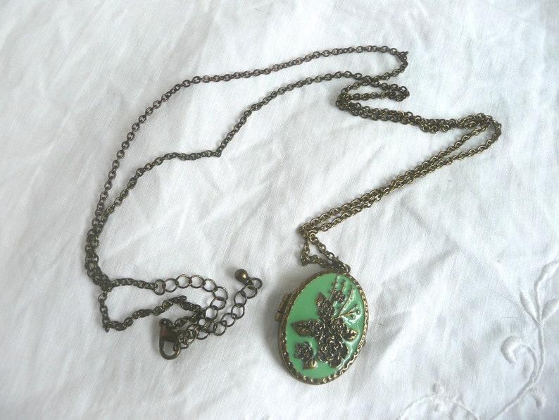 mid century locket Enamel flower locket green enamel and brass locket green and gold rose locket with magnetic closure
