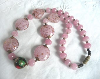 Antique glass bead necklace - Murano glass bead necklace - pink glass necklace - 1920s Murano glass necklace - Venetian glass necklace