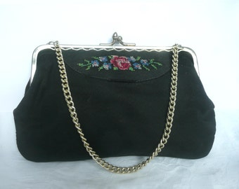 Antique petit point purse - vintage evening purse - embroidered evening bag - petit point evening purse - black satin embroidered purse