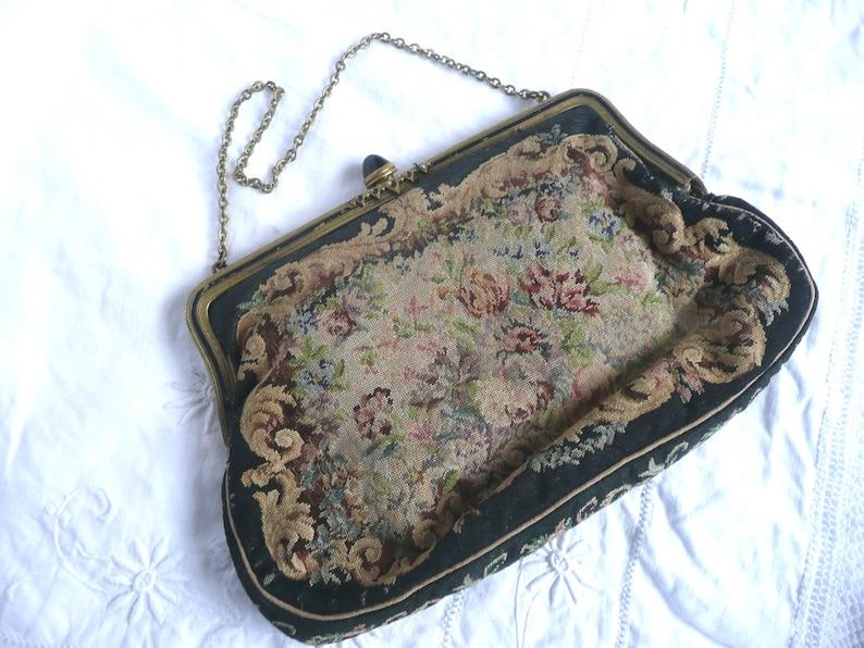 Antique petit point purse vintage petit point clutch purse with chain 1920s petit point purse with silk lining embroidered purse