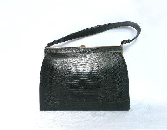 Black snakeskin handbag - vintage tegu skin purse
