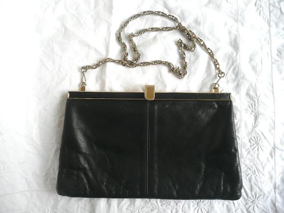 Vintage leather purse black leather handbag Jane Shilton  032ff6854a9fd