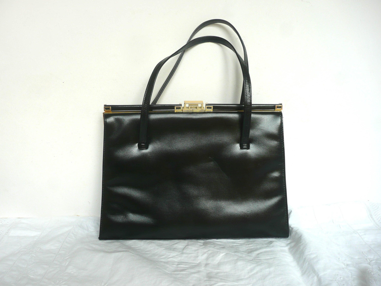 de14bf059983 Vintage Kelly bag black leather handbag L Tauman leather
