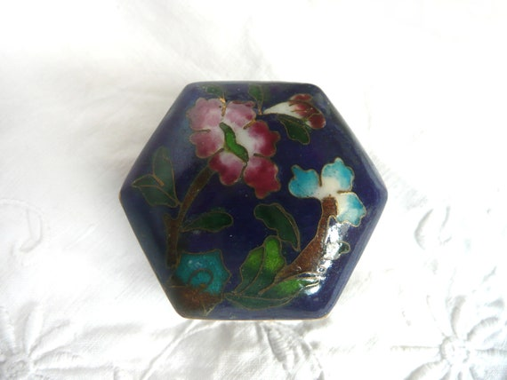 Green /& Gold Floral Cobalt Style A Chinese 1980s Vintage PEONY Enamel Stash 2 Part Box Cloisonne Box Pink Small Dresser Box Blue