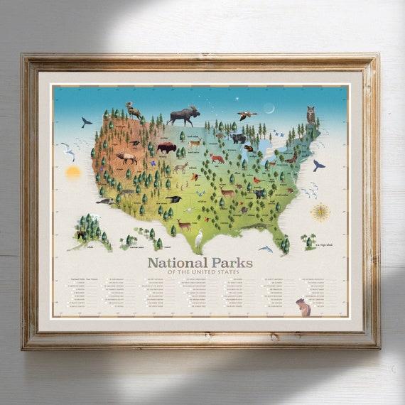 National Park Map All 62 National Parks National Park Art Etsy