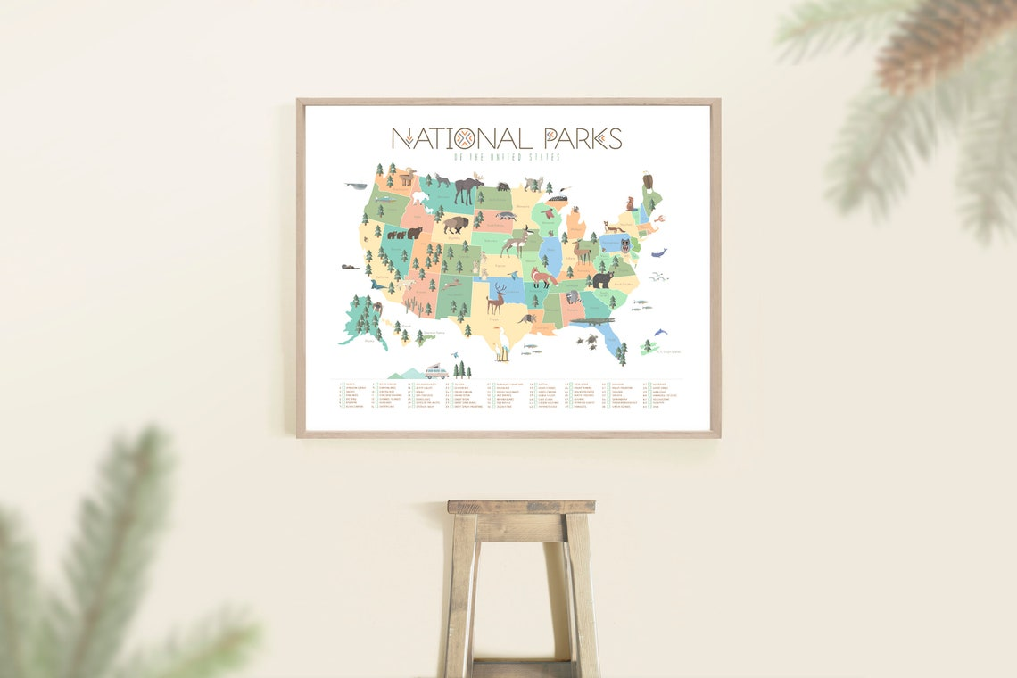 National park map Soft color palette Kids map National park image 0