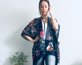 13db2d05af Sheer Kimono: Navy Hippie Floral Kimono Bathing Suit Cover Up Bridal Shawl  Wrap Festival Boho