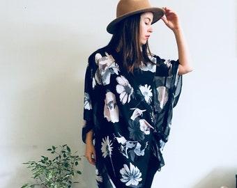 8a8dfbe6b9 Sheer Kimono: Black and White Floral Kimono Bathing Suit Cover Up Bridal  Shawl Wrap Hippie Festival Boho Sheer