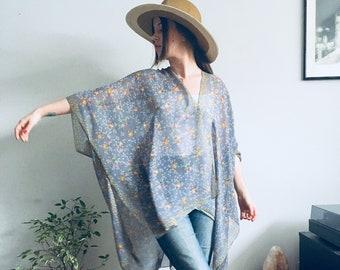 403185da35 Sheer Kimono: Grey Floral Kimono Bathing Suit Cover Up Bridal Shawl Wrap  Beach Boho Festival Hippie