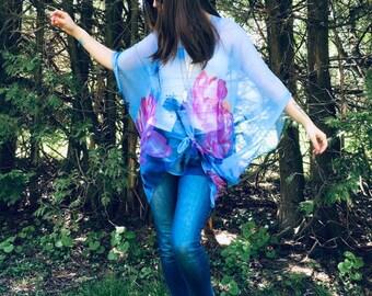 2314a451cf Boho Kimono: Sheer Blue and Pink Boho Hippie Floral Kimono Bathing Suit  Cover Up Bridal Shawl Wrap Festival Bohemian
