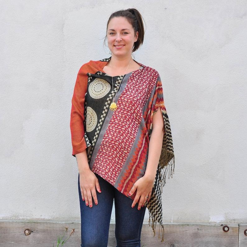 Draped Shawl Blue Multicolour Geometric Tribal Print Reversible Pashmina  Poncho Shawl Scarf