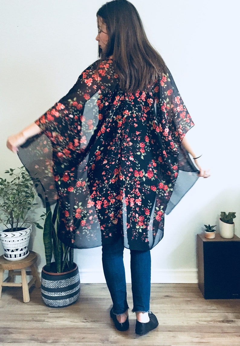 c04af6a8ce Sheer Kimono: Black and Red Hippie Floral Kimono Bathing Suit | Etsy