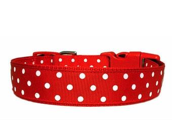 """Polka Dot Dog Collar 1"""" Red & White Polka Dots Red Dog Collar"""