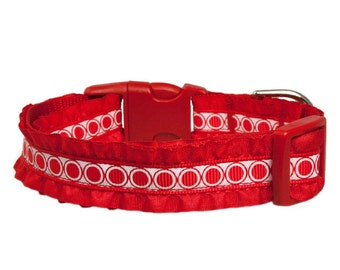 """Ruffle Dog Collar 5/8"""" or  3/4"""" Red Dog Collar"""