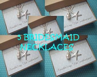 5 - STARFISH BRIDESMAID NECKLACES, Starfish Necklace, Set of 5 Necklaces, Bridesmaid Jewelry Gift, Bridesmaid Gifts Idea, Starfish Necklaces