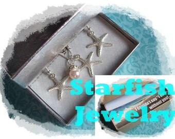 STARFISH NECKLACE - Bridesmaid Jewelry Set, STARFISH Necklace, Starfish Earrings Jewelry Set, Starfish Necklaces, Bridesmaids Jewelry Sets