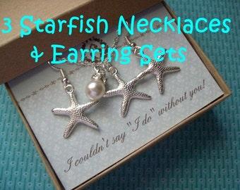 3 - STARFISH EARRINGS and NECKLACE sets- Starfish Bridesmaid Jewelry Gift, Beach Wedding, Bridesmaid Gift, Starfish, Starfish Necklace