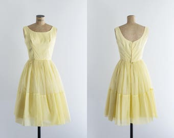 Vintage 50s Yellow Prom Dress