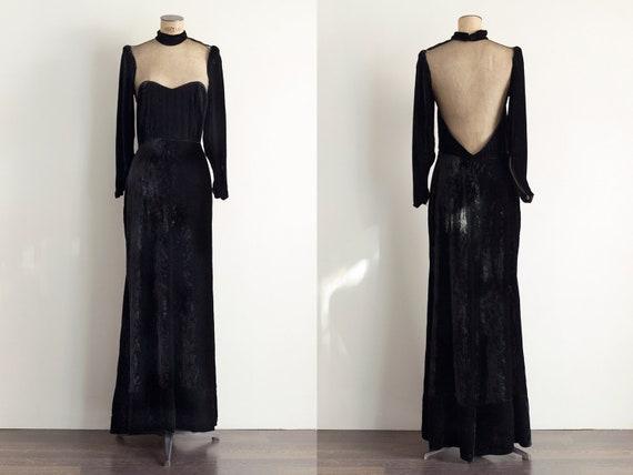 Vintage Evening Gown | 1940s Dress | Black Velvet