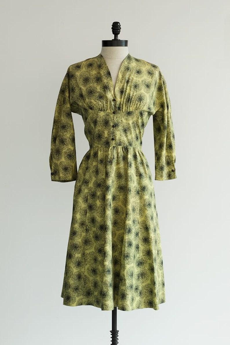 Yellow and Black 1950s Cotton Dress Vintage 50s Dress Midriff Band Dress