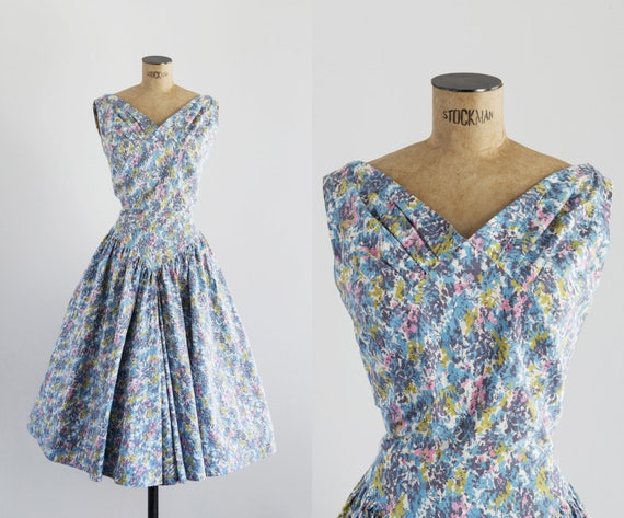 Vintage 1950s Pastel Dress - 50s Fashion - Venecia