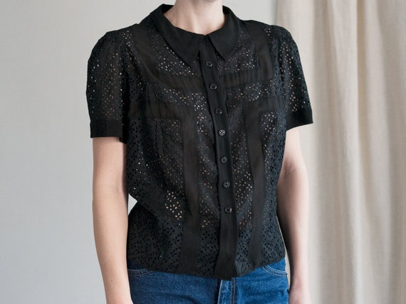 1940s Blouse | Eyelet Blouse | Sheer Black Blouse