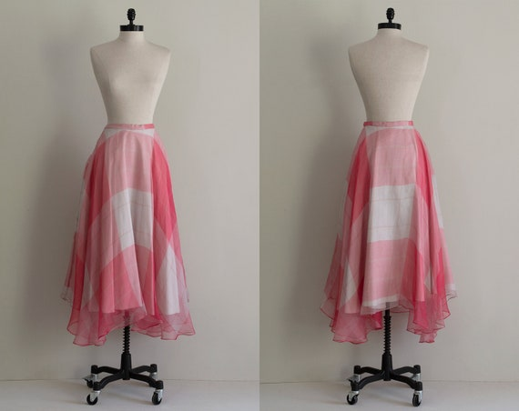 Vintage 70s Skirt | Pink Plaid Skirt | Chiffon Max