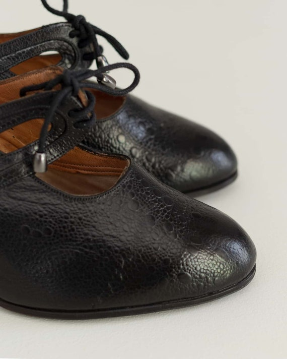 1930s Vintage Black Heels | Deadstock French Lace… - image 3